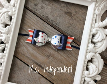 Fourth of July Leather Bow Baby Headbands Leather and Glitter 4th of July Hair Bow Newborn Headbands Photography Props Girls Leather Bows