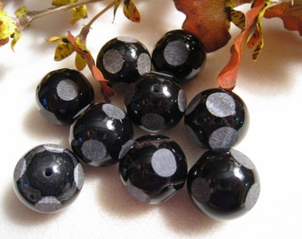 Black Agate Window Cut Round Beads - Sets of 7