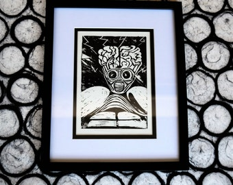 This Island Earth Monster Print Linocut