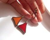 Stained glass earrings, wire earrings, contemporary jewelry, copper wire jewelry, red orange earrings, artistic earrings, funky, Triangles