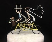 Bride and Groom on Tandem With Two Dogs in Basket, Hand Painted, Bars on Tires NOT Posts