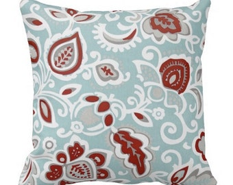 decorative pillows, red blue white pillows, floral pillows, blue floral pillows, couch pillow covers, 12x18 in pillow covers, lumbar covers
