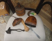 Vintage kitchen tools wood butter mold bell choppers mallet and more.....