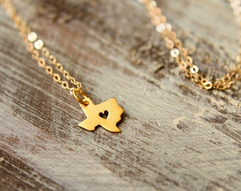 Texas Love Necklace, Taxas with Heart Cut out, Available in Sterling Silver and Vermeil and Gold Filled