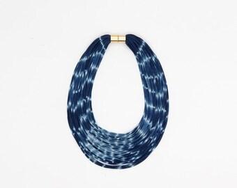 Hand dyed necklace - multi strands necklace - textile nekclace - spring colors - ON SALE