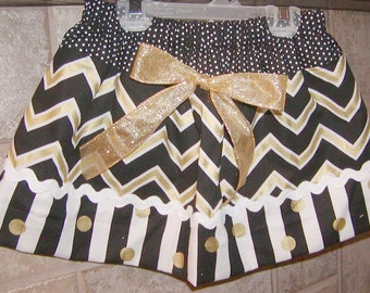 Girls Skirt Custom infant toddler...Gold N Black Chevron N Stripes..Available in 0-12 mon 1/2, 3/4, 5/6, 7/8, 9/10 Bigger Sizes Available