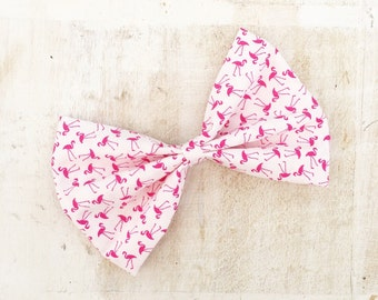 White with pink flamingo print large hair bow on clip Pin up