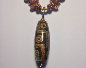 Tibetan Agate Pendant Necklace with Moss Agate Beads And Swarovski Crystals