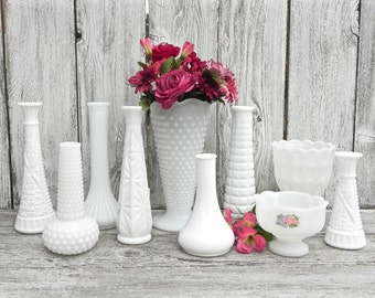 Milk Glass Vase Collection, Set of 10 for Weddings, Home Decor, Assorted Milk Glass Vase Collection,  Shabby Chic Wedding Vase Decor