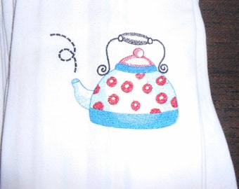 NEW kitchen Tea Towel embroidered with TEAPOT