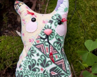 Bertrand - Plush Whimsy Kitten, recycled vintage quilt fabric, pillow
