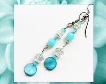 CARIBBEAN BLUE- Long Dangle Beaded Earrings- Mother of Pearl, Brazilian Aquamarine Gemstones, and Crystals- Stainless Steel Earwires