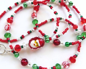 DEAR SANTA- Beaded ID Lanyard- Sparkling Crystals, Lampwork Santa, and Agate Gemstones-One of a Kind- (Comfort Created)