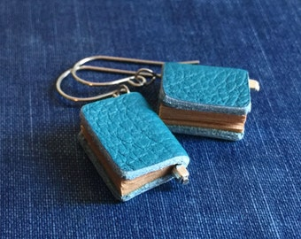 25%OFF Genuine LEATHER miniature BOOK earrings with gift envelope (Blue) gift for librarian teacher book lovers
