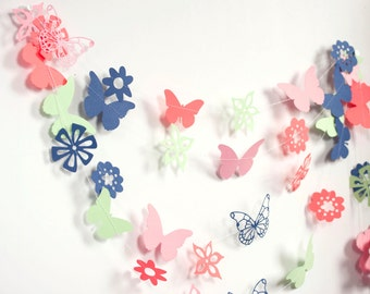 butterfly and flower garland dark blue pink green bright orange