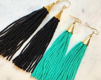 Gold Long Tassel Earrings - Turquoise Blue Tassel Earrings - Black Tassel Earrings - as seen on Instagram - Tassel Jewelry - Gift for Her