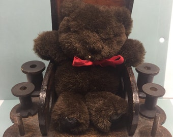 Vintage Wooden Sewing Caddy Teddy Bear pin cushion Rocking Chair Thread spools