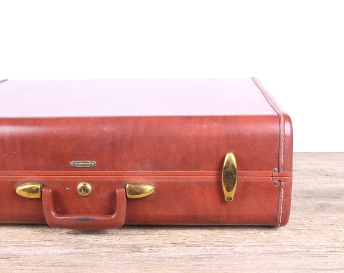 Brown Samsonite 4935 Streamlite Luggage / Samsonite Suitcase / Antique Suitcase / Vintage Luggage Bag / Old Leather Suitcase