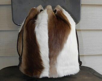 Vintage Springbok Antelope Leather Drawstring Handbag Purse Pouch Exotic Skin Fur Animal Print