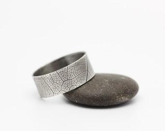 Leaf Imprint Ring, Sterling Silver Ring, Unique Wedding Band, Unisex, OOAK, Size 10.75