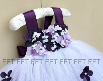 Plum Eggplant Lavender Flower Girl Dress, Tutu Dress