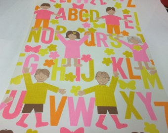 Vintage 1960s wallpaper- kids and the alphabet- by the yard
