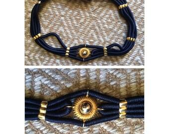 Vintage 80's elastic cinch belt Grecian blue and gold adjustable