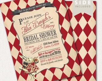 Alice in Wonderland Invitation / Bridal Shower / Mad Hatter Tea Party - Printable or Print - Red Baby Shower