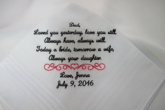 Embroidered Wedding Handkerchiefs for the Father of the Bride