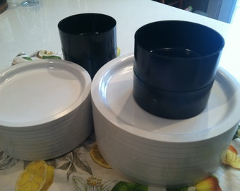 Black and White Dish Set - Melamine/Melmac set of 30