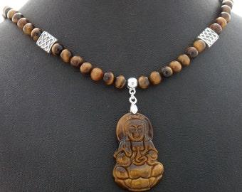 Tiger Eye Buddha Natural Stone Handmade Pendant Necklace