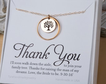 Mother of the Groom gift, Gift for mother in law from bride, mother of the groom, family tree Karma necklace, necklace for mother of groom