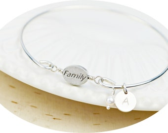Family Message Bracelet- Pewter Family Bead with or without Charms and Sterling Silver Filled Wire Wrapped Bracelet- Made to Size