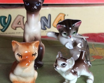 VINTAGE KITTY ORPHANS, ceramic cats, collectible collection, painted