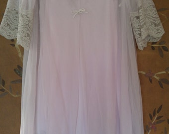80s pale lilac nightie and nightgown set by Gilead