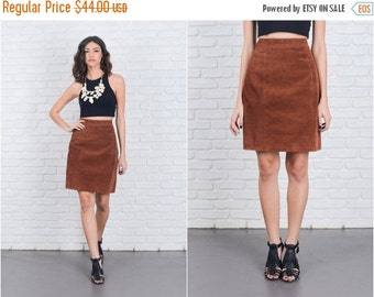 ON SALE Vintage 80s Brown Suede Skirt Pencil Straight High Waist Mini leather Small S 6955 vintage skirt brown skirt pencil skirt mini skirt
