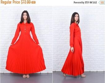 ON SALE Vintage 70s Red Mod Dress Accordion Pleated Maxi Long Sleeve Medium M 7601