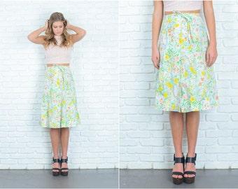 Vintage 70s White + Blue Mod Skirt Vivid Floral Print A Line Small S 6757