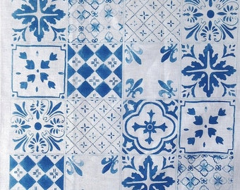 Blue Tiles linen tea towel