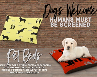 Dog Bed | Doghouse Bowls and Bones | 3 Sizes | Indoor or Outdoor Fabric | All Dogs Welcome