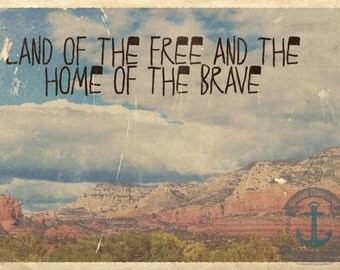 Land of the Free Home of the Brave Vintage Grand Canyon Patriotic Wall Decor Product Options and Pricing via Dropdown Menu