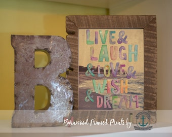Live Laugh and Love - Framed Print in Reclaimed Barnwood Love and Adventure Decor - Handmade Ready to Hang | Size & Price via Dropdown