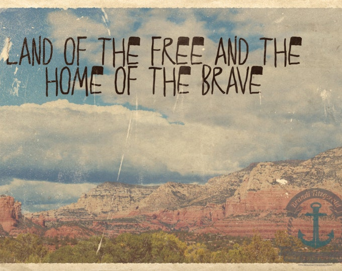Featured listing image: Land of the Free Home of the Brave Vintage Grand Canyon Patriotic Wall Decor Product Options and Pricing via Dropdown Menu