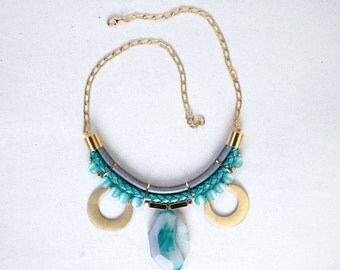 Statement Light Aqua Blue Agate Stone Necklace by Pardes, statement jewelry
