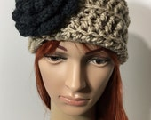 Crochet Ear Warmer Taupe with Black Flower