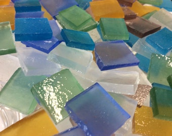 50 SEA GLASS LOOK Mix Color Stipple Stained Glass Mosaic Tile B34