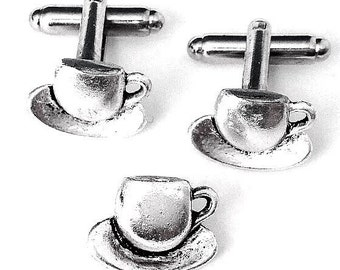 SALE Silver Coffee Cup Cufflinks & Tie Tack- Mens Handcrafted Teacup Saucer Cuff Links Set- Guys Prom Groom Wedding Mans Beverage Gift