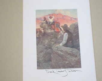 Western Art Prints, Frank Tenney Johnson, The Stage Coach Robbery,  Signed
