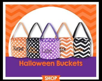 Halloween Bucket, Trick or Treat Bag, Personalized Treat Bags, Halloween Treat Bags
