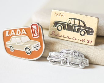 Soviet cars pins set 3, Soviet Lada car pin old skool, Volga car 1956 pins, fun lapel pins, style and success cars Soviet bloc badges
